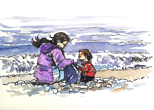Pen and watercolour wash sketch of people on Budleigh Beach.