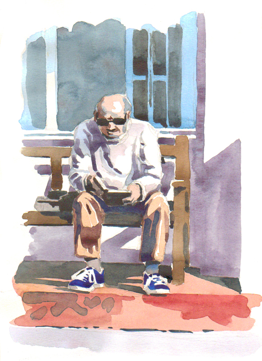 Watercolour sketch of a Budleigh Reader