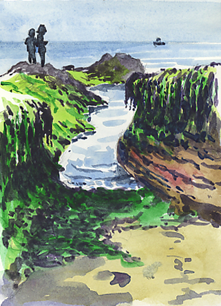 Watercolour sketch, a cleft in the rocks with seaweed, 'Chy Bucca.'
