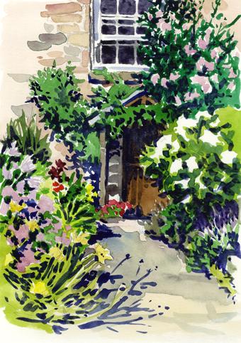 Watercolour sketch of a Cornish Doorway