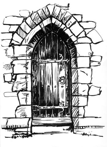 Pen sketch of a Door at Woodbury Church