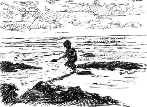 Pen sketch of digging at Exmouth beach