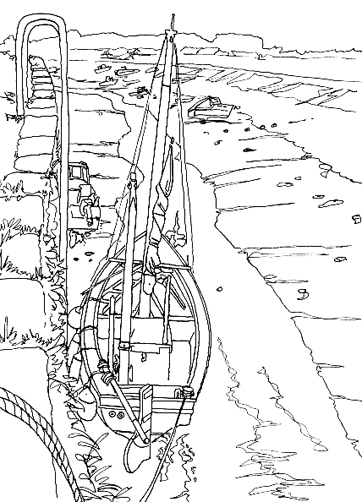 Pen sketch of Foundry Quay at Hayle.