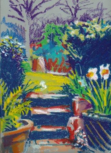 Oil pastel sketch of a Cornish Garden