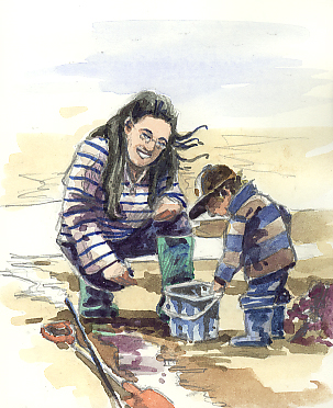 Watercolour sketch of the finding of a Hermit Crab!