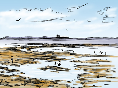 Pen sketch with digital colouring, Low Tide