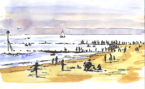 Watercolour and Pen sketch of lots of people on Maer Rocks