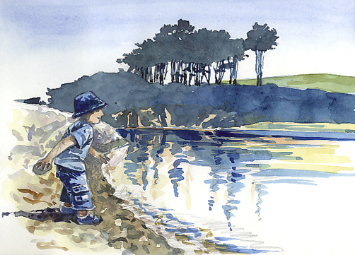Watercolour sketch of a small boy 'Making a Splash!'