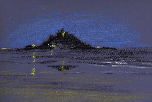 Oil pastel sketch of Moonlight over St Michael's Mount