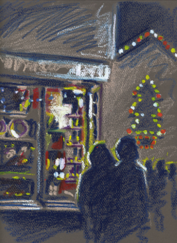 Oil pastel sketch of Mousehole Christmas Lights