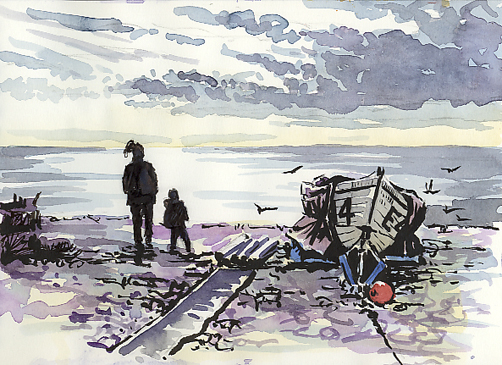 'Sketching along Budleigh Beach'