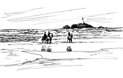 'Riders in the surf'