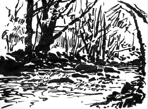Pen sketch of the River Teign