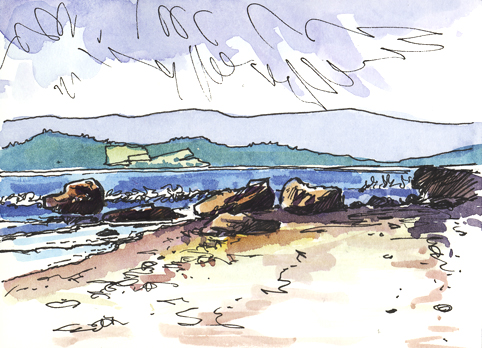 Pen and Watercolour sketch at Rodney Point, Exmouth Beach
