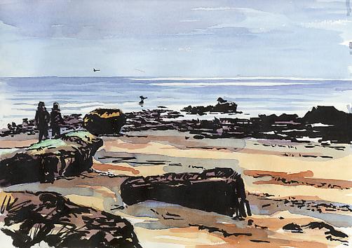 Pen and watercolour sketch, 'Sea Mist & Sun' at Exmouth beach