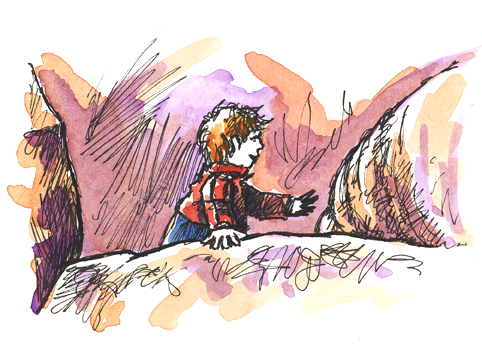 Pen and wash sketch of Searching the Rocks