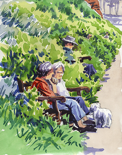 Watercolour sketch of two ladies 'Sitting in the Green' on Budleigh Salterton's prom.