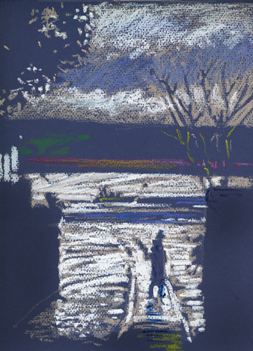 Oil pastel sketch, a Topsham Evening on the slip