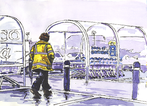 'Sketching in Tesco's car park!'