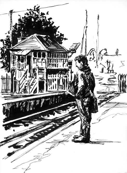 Pen sketch of someone 'Waiting at Topsham Station'