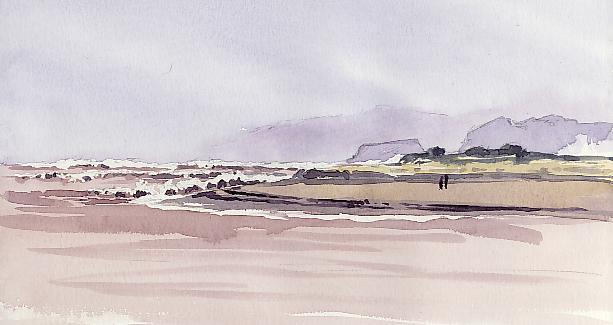 Watercolour sketch, Waves driving onto Dawlish Warren.