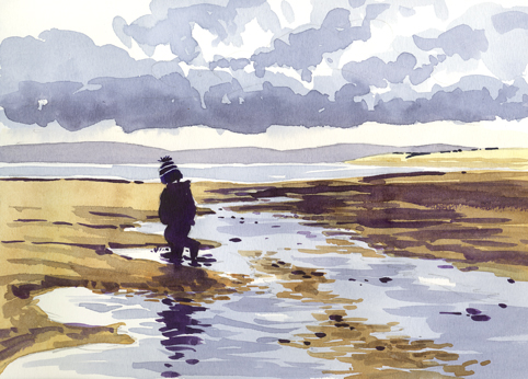 Watercolour sketch of little boy in a bobble hat on the beach, with reflections in the water.