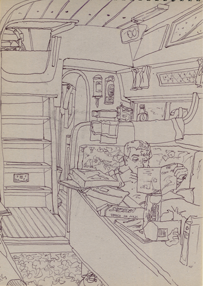 Pen sketch of life Aboard Algol - at anchor - drinking tea and eating biscuits!