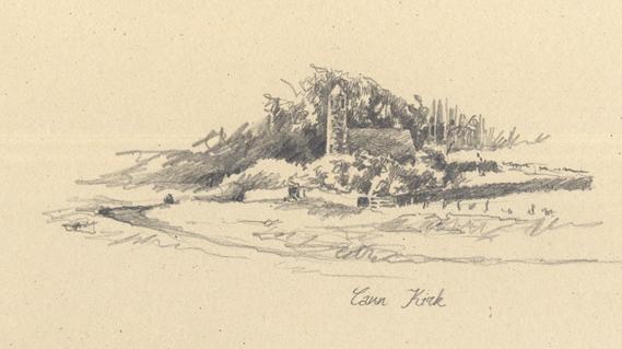 Pencil sketch of Cann Kirk