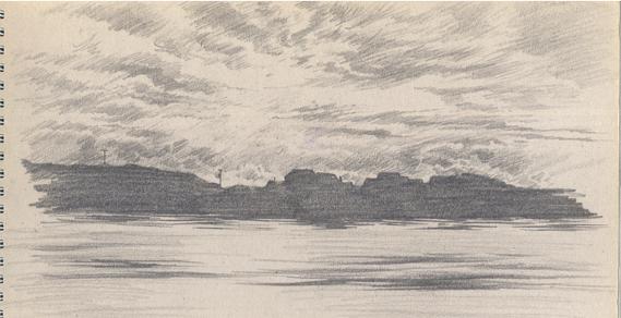 Pencil sketch of Arinagour, Coll