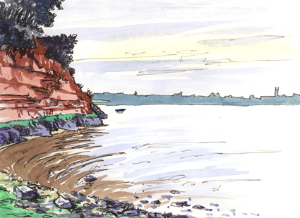Watercolour painting - Ebb tide on the Exe