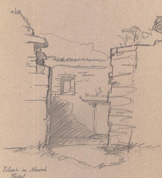 Pencil sketch of Eileach an Naoimh Chapel