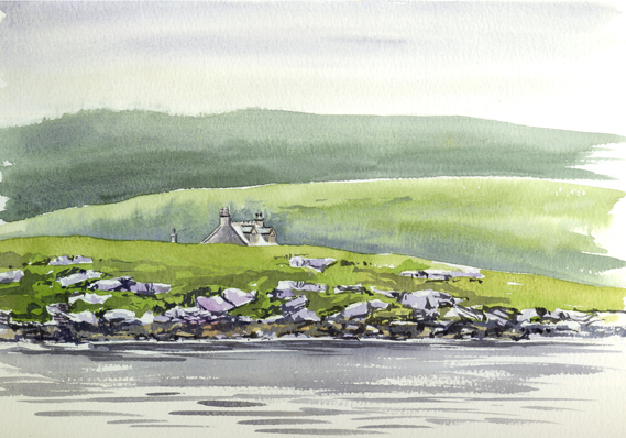 Watercolour sketch of an Eriskay Croft from the harbour