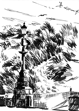 Pen sketch of Exmouth Dunes
