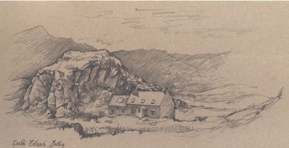 Pencil sketch of Garvellachs Bothy