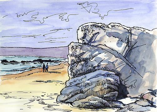 Pen and watercolour sketch of Marazion beach and the Giants Rock ~ Marazion