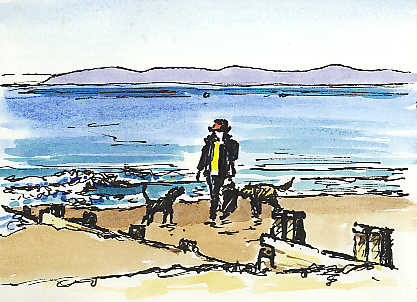Watercolour & pen sketch, 'Lady in the Red Hat' walking along Exmouth beach.
