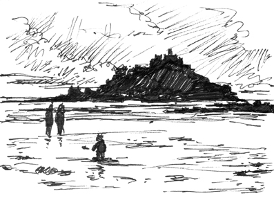 Pen sketch of low tide, with people on the beach at St Michael's Mount