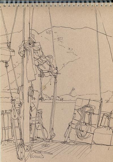Pen sketch of the yachts mizzen mast.