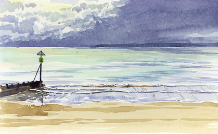 Watercolour sketch looking out to sea at Exmouth