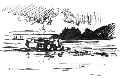 Pen sketch of Gathering Seaweed on Marazion beach.