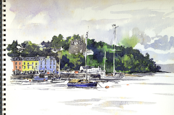 Watercolour and pen sketch of Tobermory, on the island of Mull.