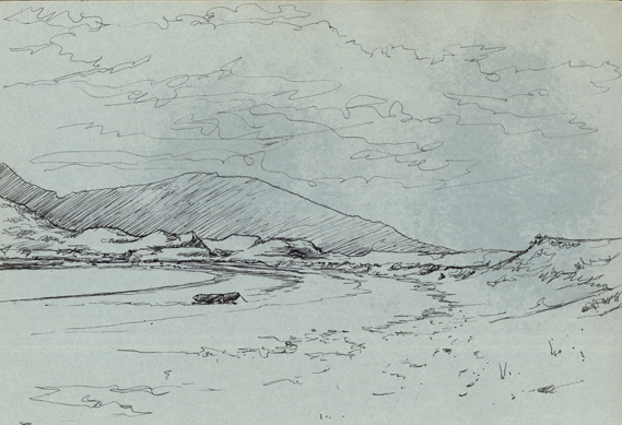 Pen sketch of Vatersay Bay.
