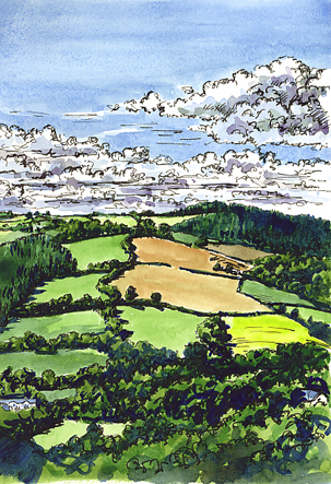 Watercolour and pen sketch of Wood End, nr Exeter.