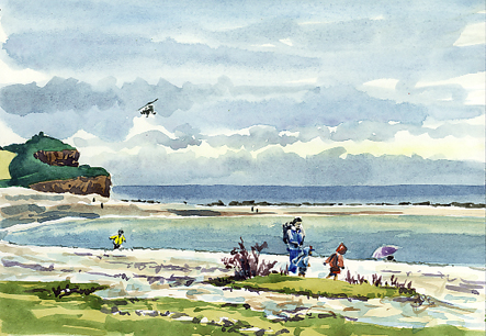 Watercolour sketch of a Blustery Day on Budleigh Salterton beach.