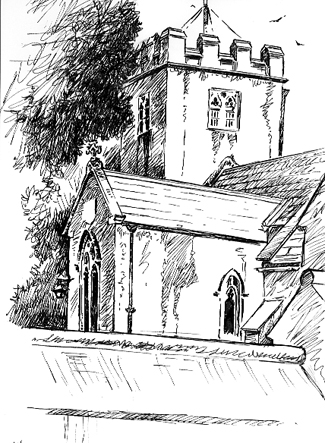 Pen sketch of Buckerell Church