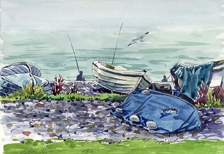 Watercolour sketch of Budleigh Boats