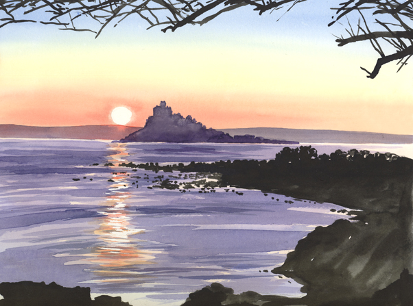 Watercolour sketch of the sunset over St Michaels Mount.
