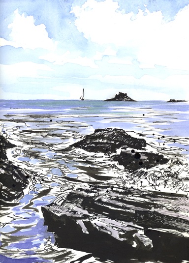 Dip pen sketch with watercolour added of Prussia Cove .
