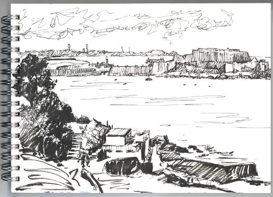 Pen sketch of Havelet Bay-Castle Cornet