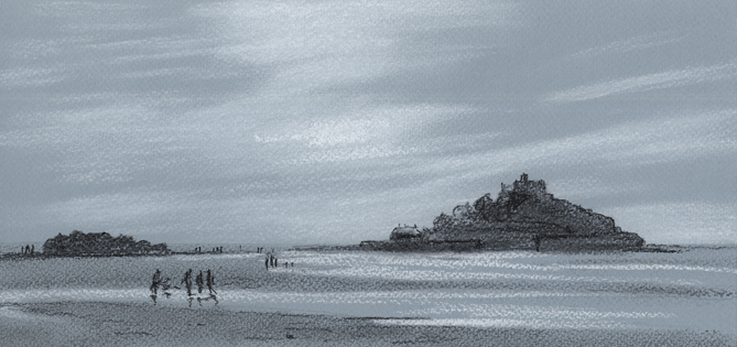 Charcoal sketch of St Michael's Mount